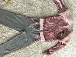 Нарядный брючный костюм с мехом и паетками , Wojcik,158