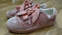 Мокасины, велюровые туфельки Mango, 24 см стелька