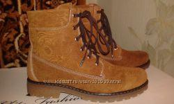Ультрамодные ботинки 39р -26 см натур нубук деми