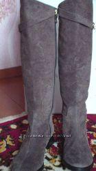 Модные сапоги 39 р- 25, 5см натур кожа нубук деми