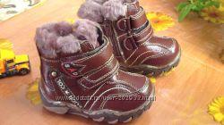 Классные кожаные ботинки 21р-13, 5см цигейка зима