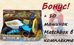 Matchbox Грузовик металлоискатель и 10 металлических машинок в комплекте.