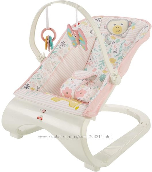 Детский шезлонг Fisher-Price Comfort Curve Bouncer от рождения до 9 кг роз
