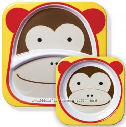 Набор детских тарелок Скип Хоп Обезьянка Skip Hop Zoo Melamine Plate & Bowl