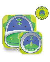 Набор детских тарелок Скип Хоп Динозавр Skip Hop Zoo Melamine Plate & Bowl
