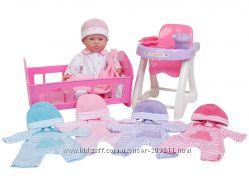 JC Toys La Baby Doll Set Пупс, стульчик для кормления, кроватка, одежда