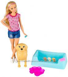 Барби и собака с новорожденными щенками Barbie Newborn Pups Doll