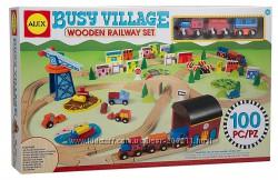 Деревянная железная дорога Алекс ALEX Toys Busy Village Wooden Railway Set