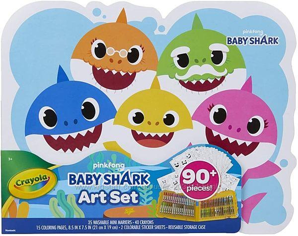 Набор Крайола 90 предметов карандаши, маркеры Crayola Baby Shark Art Set