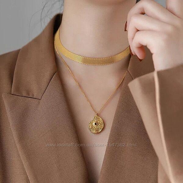 Элегантный металлический чокер, ожерелье, под золото