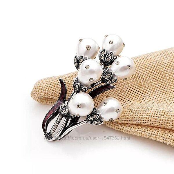 Эффектная брошь жемчужный цветок в стиле античное серебро, винтаж