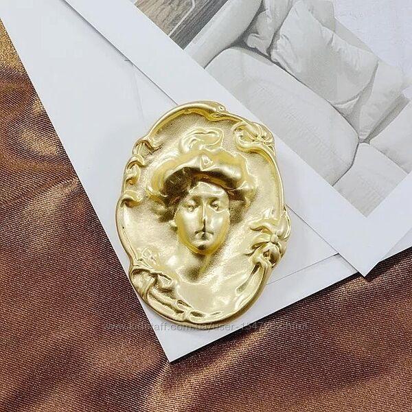 2в1 брошь - кулон камея, дева в стиле барокко