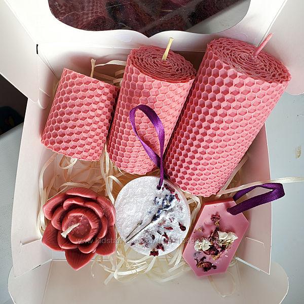 Подарочный набор свечей и саше ручной работы