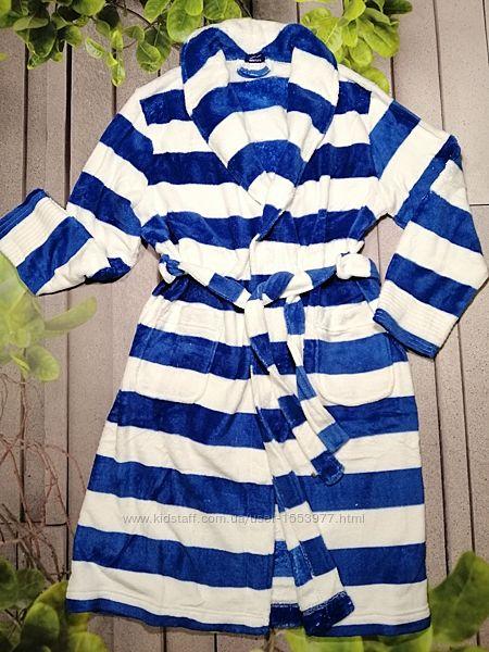 Теплый легкий халат в полоску синий белый с поясом