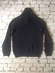 Теплий светр крутезний щильної вязки пуловер синього кольору джемпер