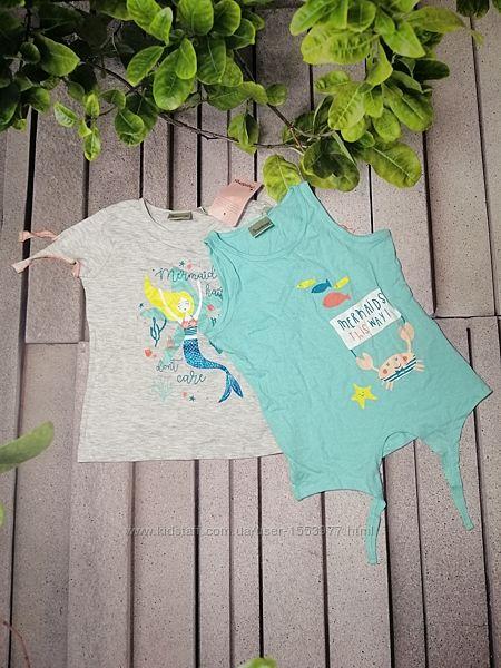 Літній набір для дівчинки майка та футболка з принтами