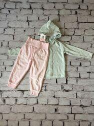 Велюровий костюм дитячий рожеві штани мятна кофта