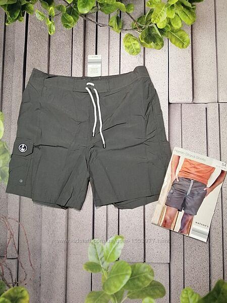 Пляжные шорты серого цвета для купания с подкладкой