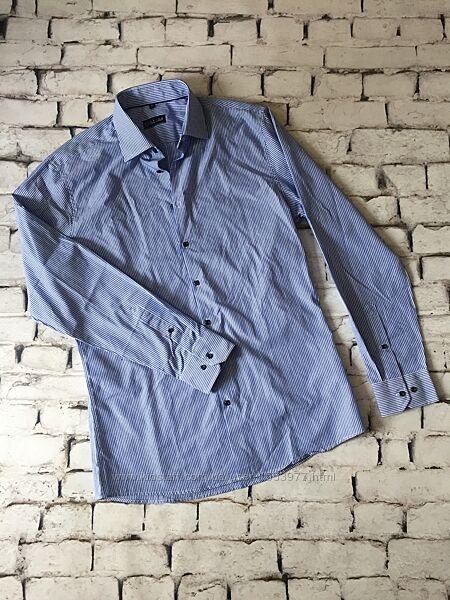 Рубашка полоска длинный рукав сорочка мужская ворот 40
