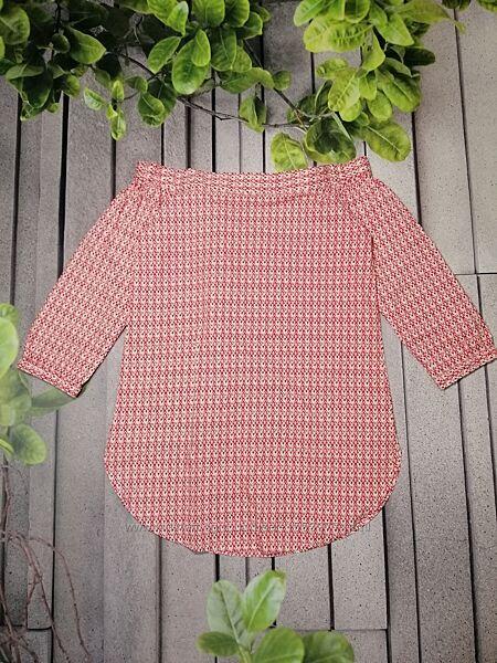 Блуза удлиненная с принтом туника с отрытыми плечами