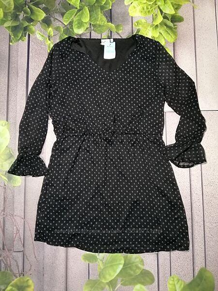 Уценка платье из шифоновой ткани на подкладке черное