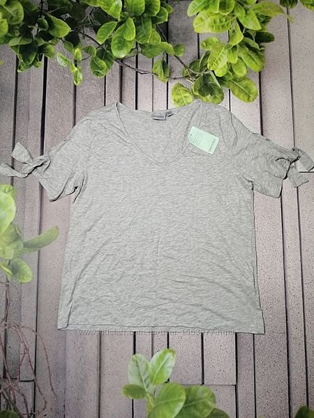 Меланжевая футболка с завязками на рукавах модал хлопок