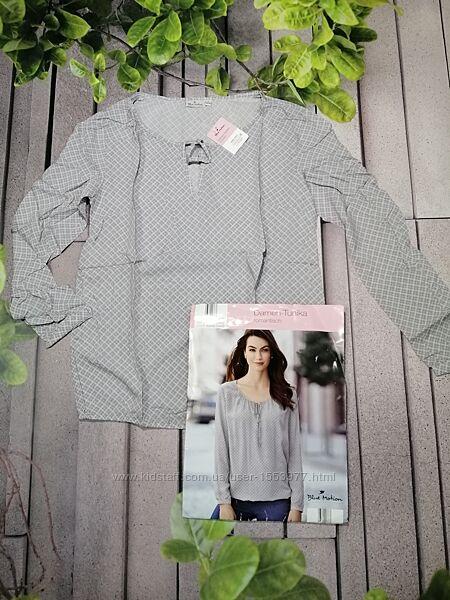 Легчайшая блуза серого цвета принтованная ткань вискоза