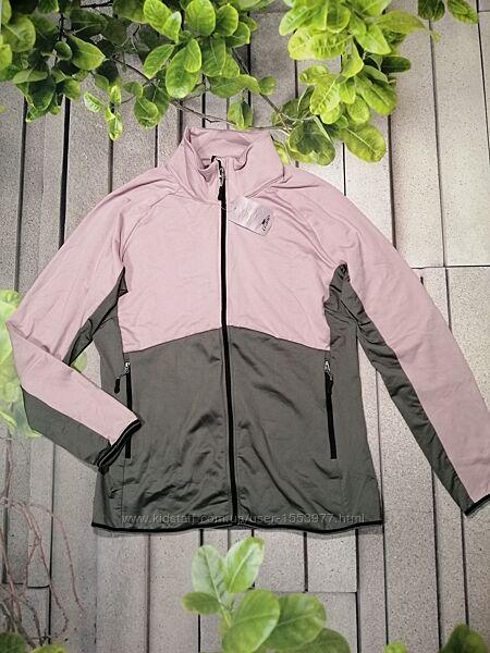 Кофта спортивная на молнии серо розовая жакет спортивный