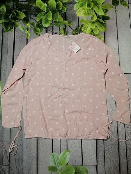 Розовая в горох блуза из вискозы длинный рукав