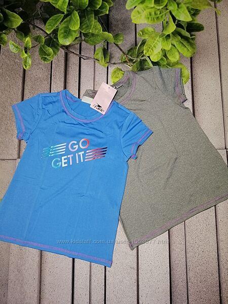 Набор из двух спортивных футболок для девочки эластичный полиэстер