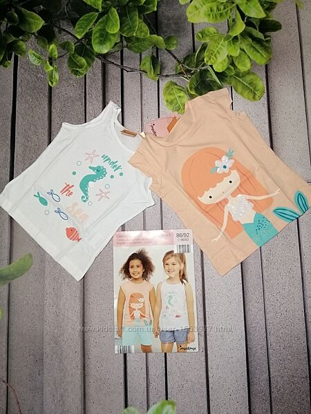 Летний набор футболка и маечка для девочки с принтами
