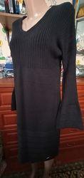 Steilmann германия черное вязаное платье миди с модным рукавом л-хл