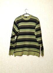 Джемпер мужской в полоску чёрная зелёная шерсть акрил M бренд Sey club