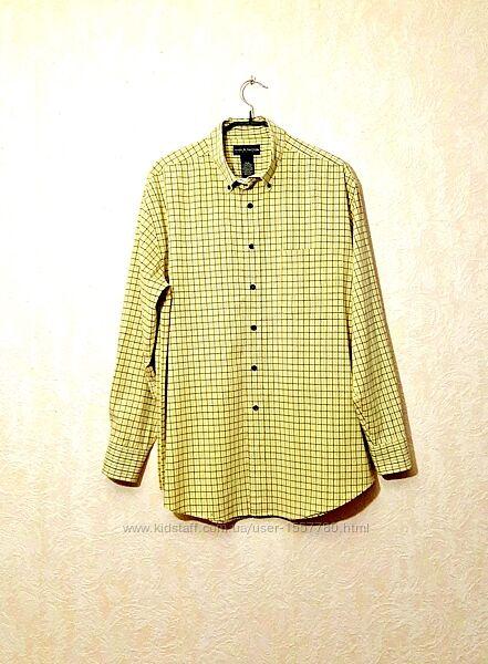 Рубашка мужская в клетку жёлтая-чёрная-голубая горл41/42 р52 Croft&Barrow