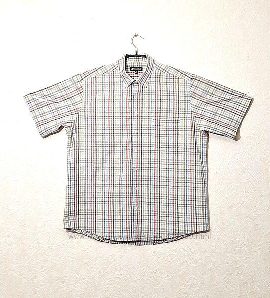 Рубашка мужская в цветную клетку короткий рукав 43/44 XL Authentic Германия