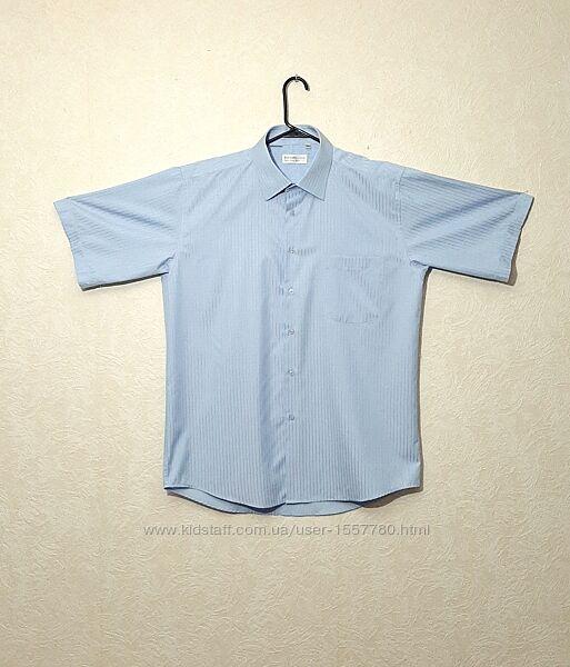 Рубашка мужская голубая короткий рукав полоска ворот 42 L Ferrero Gizz
