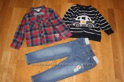 Стильный комплект рубашка, джинсы, свитшот на малыша 1-2 года