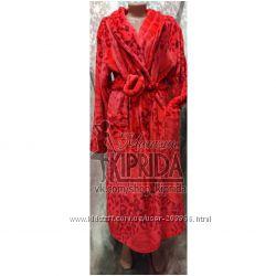 Банный махровый женский халат длинный, шаль 50-60