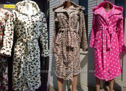 Махровый женский халат короткий Зебра, Лео, Горох