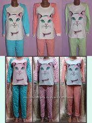 Женская хлопковая байковая пижама на манжетах. Кошка