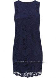 Платье Oodji кружево синее коктельное вечернее XS-S 40-42 размер
