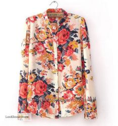 Красивая блуза рубашка с цветами