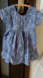 Очень стильное платье под лен от Matalan 12-18 мес коти