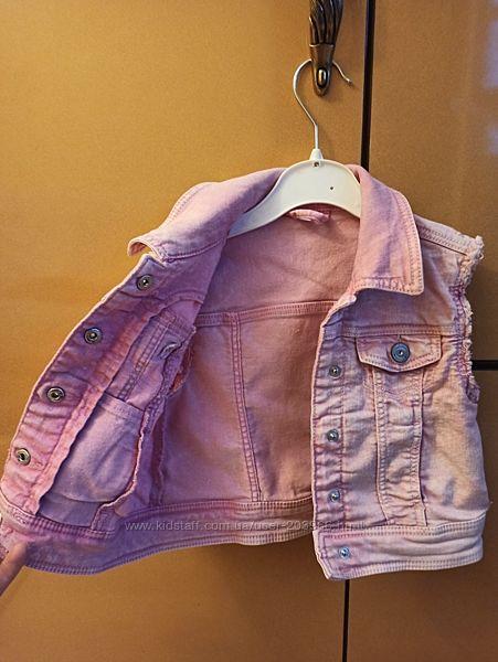 Стильный летний жилет С&А 92-98 см розовый джинс