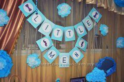 Все для оформления дня рождения в стиле Little  Man, кенди бар, украшения