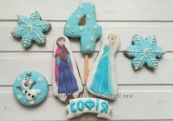Пряники Ледяное сердце - Эльза, Анна, Олаф из Frozen