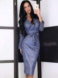 Вечірня нарядна сукня на запах40-46рр з люрексом