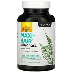 Country Life, Maxi-Hair, здоровье волос и ногтей, биотин, 90 таблеток