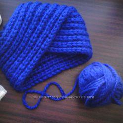 Зимняя вязанная шапка тюрбан чалма
