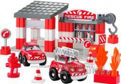 Французский конструктор Ecoiffier abrick Скоростное авто Пожарное депо